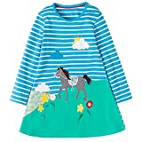 Frogwill Girls Stripe Long Sleeve Party Mini Horse Dresses 5-6Y