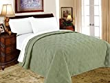 Decarl Bedroom Quilt Modern Light Weight Air-conditioning Solid Bedding Quilted Bedspreads, King, Green