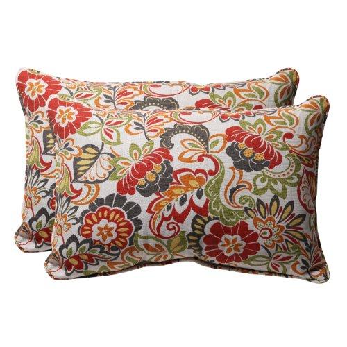 Toss Pillow Decorative Rectangle (Pillow Perfect Decorative Modern Floral Large Rectangle Toss Pillow 24-1/2
