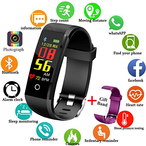 Fitness Tracker, LIGE IP67 Waterproof Activity Tracker with Heart Rate Monitor Pedometer Watch and Sleep Monitor Calorie Counter Watch, Slim Black Smart Bracelet for Kids Women Men + Gift