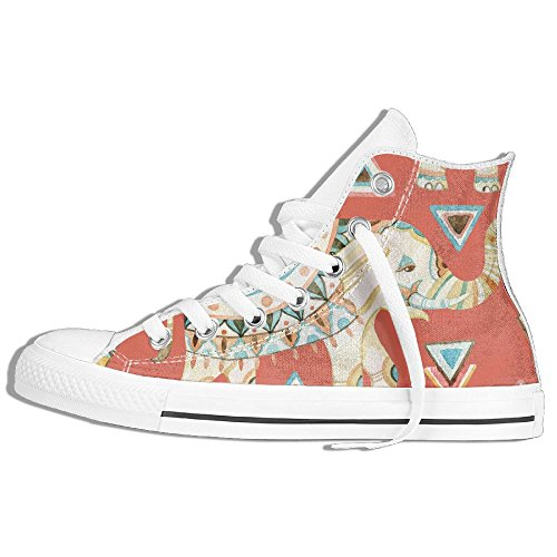 Classic High Top Sneakers Canvas Shoes Anti-Skid Indian Elephant Casual Walking For Men Women White VUywojFq5
