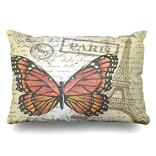 Ahawoso Decorative Throw Pillow Cover Queen 20x30 Blue Seal Table Top Sketching Butterfly Letter Yellow Monarch Board Cup Doodle Drawn Education Office Zippered Pillowcase Home Decor Cushion Case (Bed Post Queen Pencil)