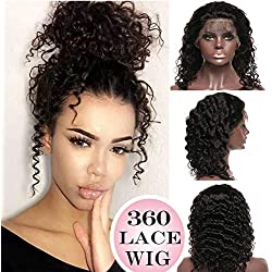 "360 Lace Wigs Deep Wave Brazilian Human Hair Wig Curly 14"" 360 Frontal Lace with Baby Hair Pre-plucked for Black Women 130% Density #1B Natural Black 360 Wig"