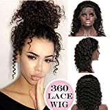 "360 Lace Wigs Deep Wave Brazilian Human Hair 10"" Curly 360 Frontal Lace with Baby Hair Pre-plucked for Black Women 130% Density #1B Natural Black 360 Wig"