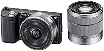 Amazon sony digital slr camera nex 5 double kit black nex 5d sony digital slr camera nex 5 double kit black nex 5db sciox Images