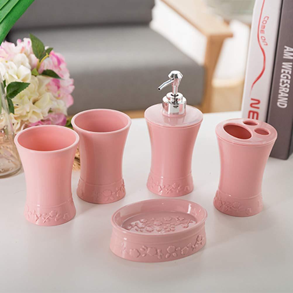 Bicchiere Bicchiere per Set Accessori Bagno Dispenser di Sapone Rosso Yardwe 5 Pezzi//Set di Accessori da Bagno in plastica Kit portaspazzolino portasapone