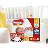 Huggies Little Snugglers Plus Diapers New Born Skin Care Essentials Kit - 128ct Diapers & 32ct Natural Care Plus Baby Wipes