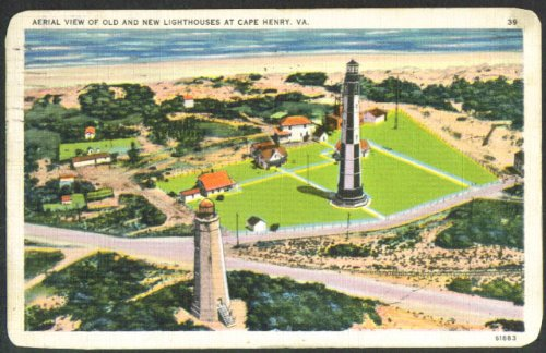(Old & New Lighthouses Cape Henry VA postcard 1939 )