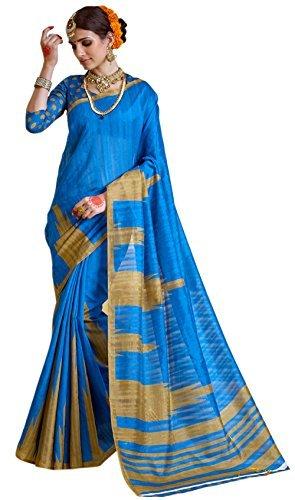 Samskruti Sarees Womens Raw Silk Saree(SLEESA-110_Blue)