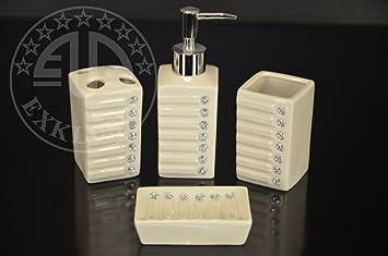 4 Teiliges Bad Accessoire Set Badezimmer Set Keramik Beige Mit Strasssteinen