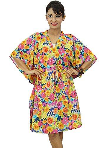 Beach Cover Up Kaftan Boho hippy New Indian más el tamaño de las mujeres del vestido floral de Caftán Multicolor-2