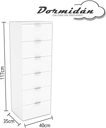 Dormidán- Sinfonier 6 cajones guías metálicas, cómoda Dormitorio, Altura 117cm. (Roble cajones Antracita)