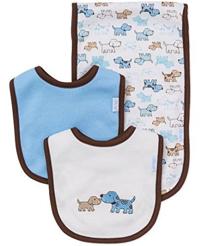 Little Me Baby Boy Newborn Bib and Burp set,  White/Multi,  One Size