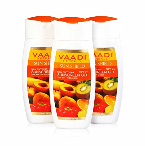 Orange Gelee Sunscreen Lotion - Skin Soothing Herbal Sunscreen Gel with Mix Fruit Extracts - Sun Shield - Spf25 - Good for Both Pre and Post Sun Care. Suitable for All Skin Types - 11.2 Ounces(3 X 110 Ml) - Vaadi Herbals