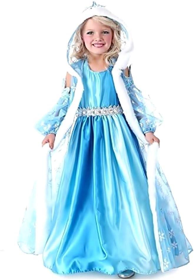 Disfraz de elsa frozen - niña - capucha - halloween - carnaval - talla 130-6 - 7 años - idea de regalo original frozen