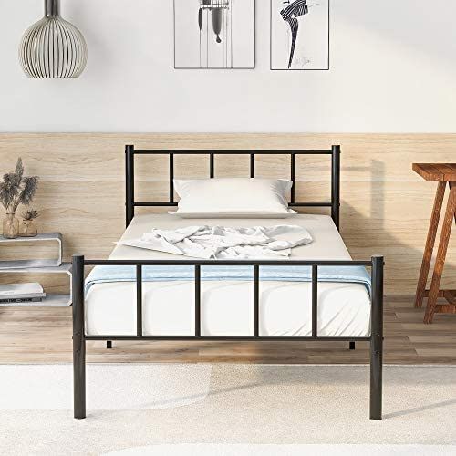 135 X 190 Merax Metal Bed Frame Solid Single Bed with Vintage Headboard and Footboard,for Adults Kids Children,Black