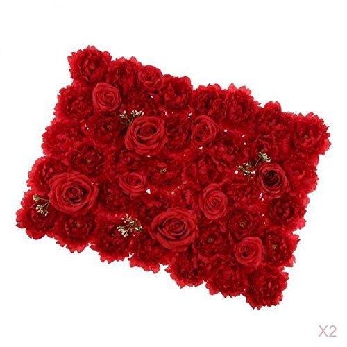 - D DOLITY 2 Pieces Romantic Artificial Flowers Wall Panel Wedding Venue Floral Decor-Red 66 x 50cm