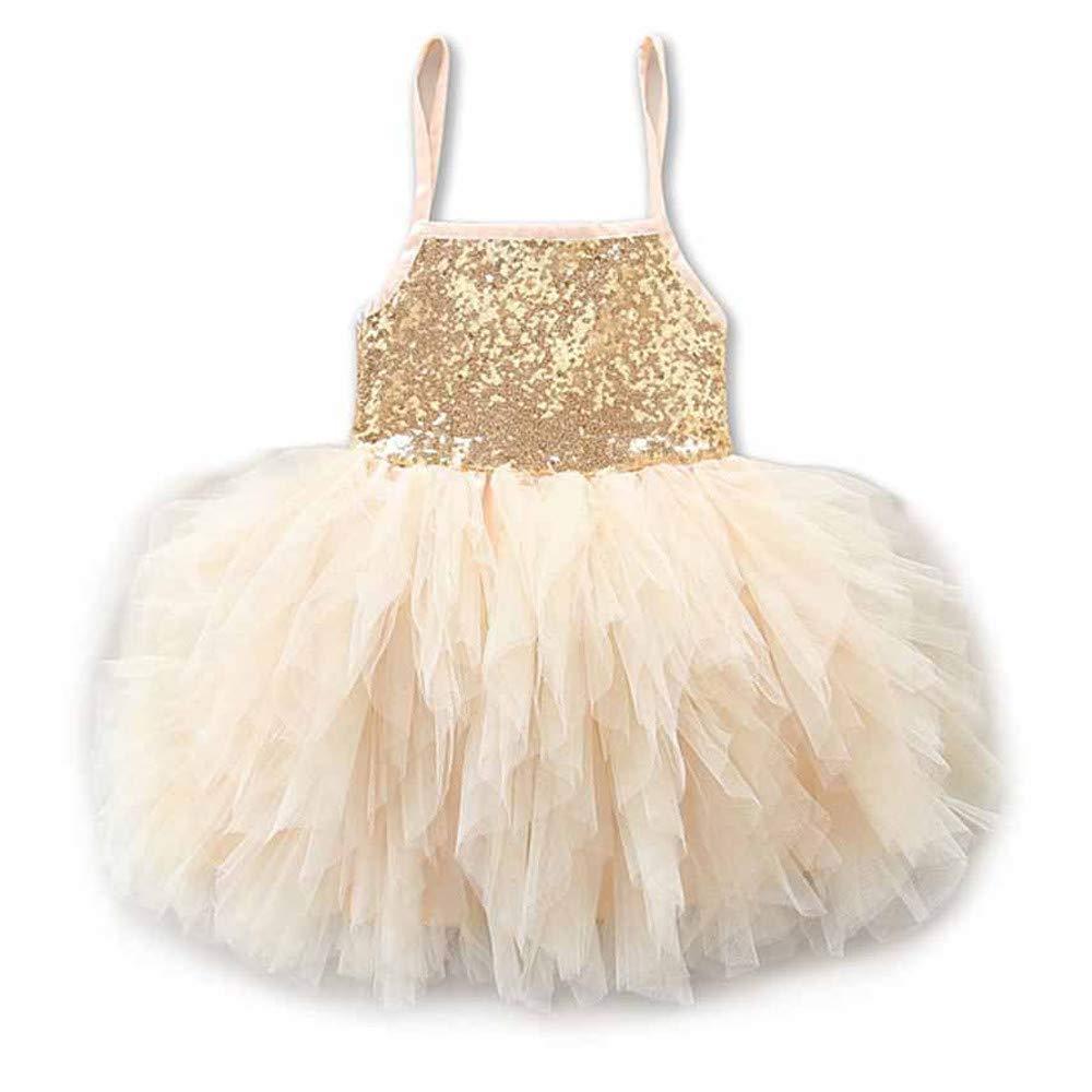 WUSIKY Sommerkleid Kind Baby Mädchen Pailletten Bogen Kleid Ballkleid Party Brautjungfer Formale Prinzessin Kleid Elegante Lässige Mode Tutu Rock Minikleid Party Kleid Kinder Geschenk