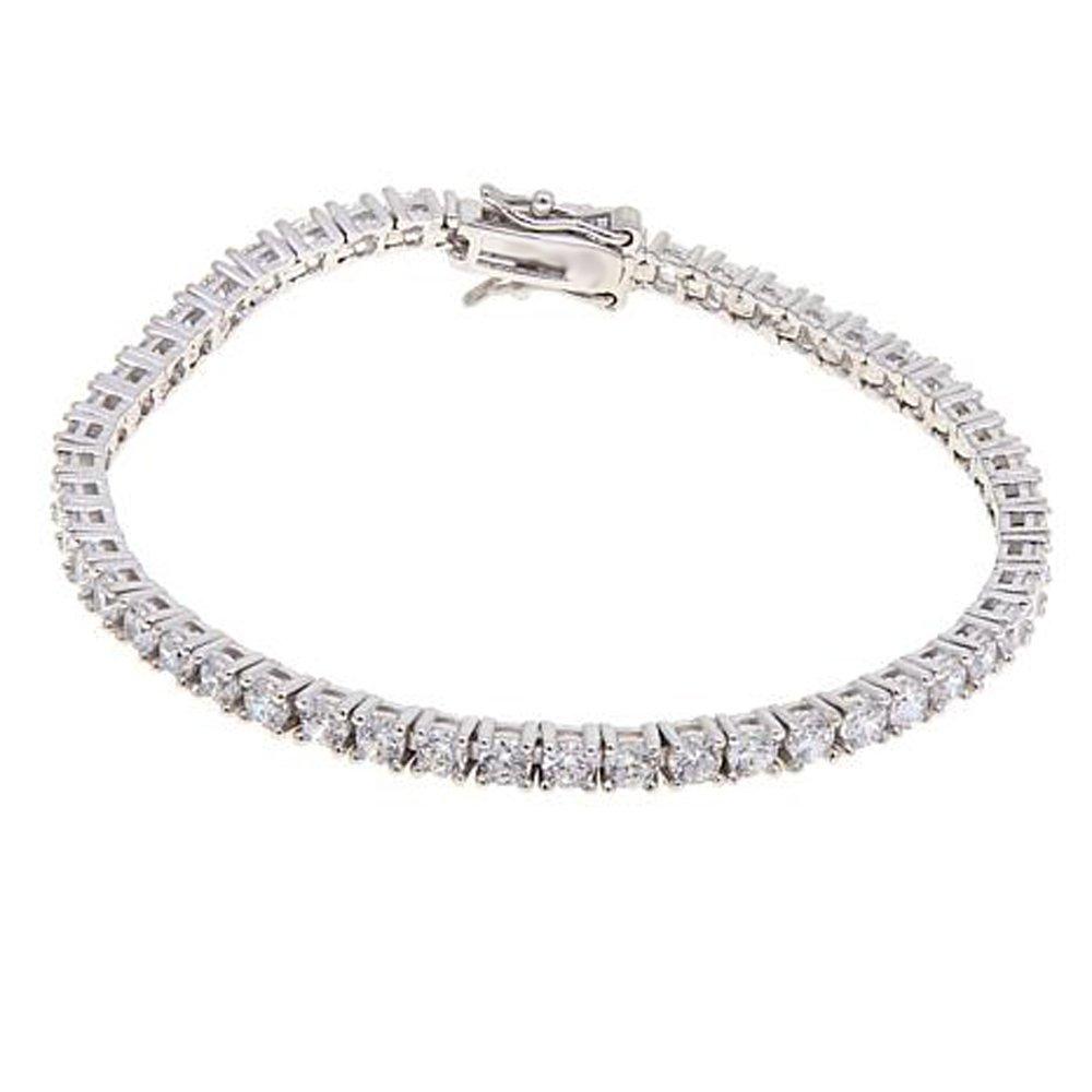 Silvercz Jewels 4.90 Ct D/VVS1 Diamond 14K White Gold Plated Silver 3mm Round Line Bracelet