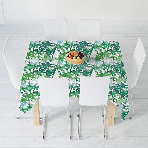 - Dust-Proof Tablecloth,Palm Leaf,for Kitchen Dinning Tabletop Decoration,55 X 55 Inch,Exotic Fantasy Abstract Coconut Tree Silhouettes Green