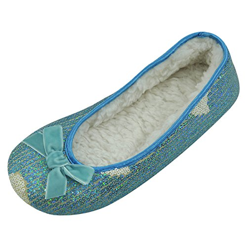 House Women's Slippers Home Plush Water Soft Blue Ballerina Slipper Ballet Sole Indoor 0gZaFS