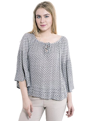 7fcf7e2b01d79 KASHANA Crepe Viscose Gray Floral Diamond Printed 3 4 Sleeve Plus Size Women  Ladies Casual Top