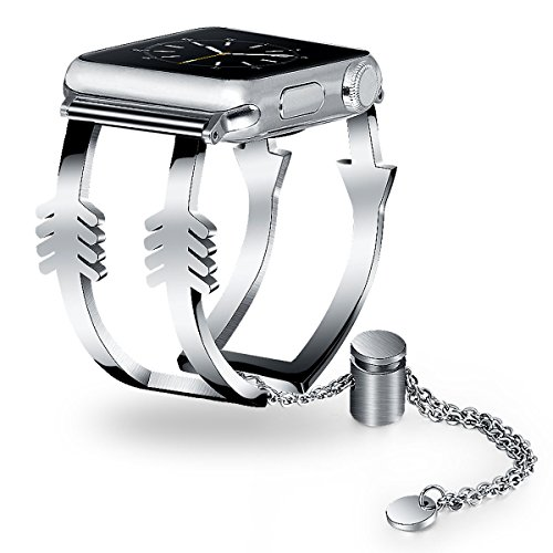 Apple Watch Bands 38mm Women Ladies, V-Moro Luxury Apple Watch Jewelry Cuff Stainless Steel Metal Bracelet Strap Wristbands for Apple Watch Series 3,2,1,Sport,Hermes (Arrow-Silver, 38mm(5.5''-8.26'')) (Wristband Clippers)