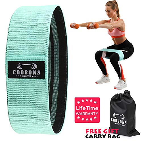COOBONS Resistance Bands for Legs and Butt,Exercise Bands Hip Bands Booty Bands Wide Workout Bands Resistance Loop Bands Anti Slip Circle Fitness Band Elastic Sports Bands(1 Pack Green Bands) (Booty Lifter Workout)