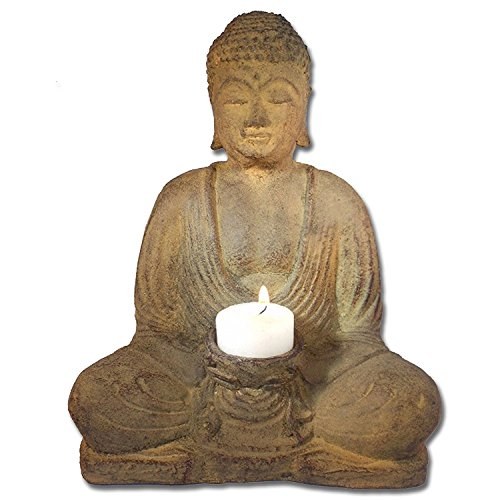 Wisdom Arts #8102 - Seated Meditating Buddha Statue Candle Holder, 8.5'' High