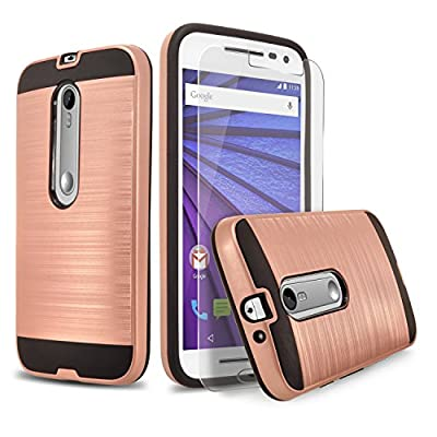 Moto G Case, (3rd Generation) 2-Piece Style Hybrid Shockproof Hard Case Cover + Circle(TM) Stylus Touch Screen Pen And Screen Protector from CIRCLE