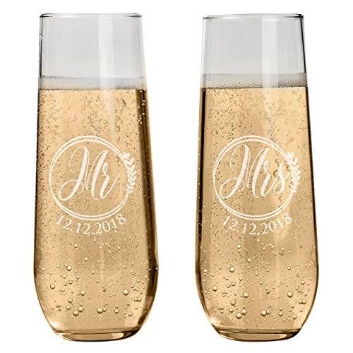 Set of 2 Personalized Stemless Champagne Flutes Wedding Glasses for Bride & Groom Champagne Glasses Wedding Gifts Mr & Mrs Champagne Flutes Wedding favor Toasting Glasses | Heart to Heart Glasses #S9