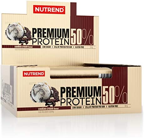 Nutrend Premium Proteinriegel 50% Protein 16x60g Cookies Cream Glutenfrei Niedriger Zucker