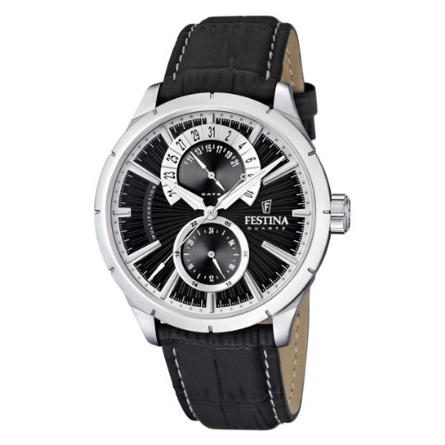 Festina Men's Retro F16573/3 Black Leather Quartz Watch with Black Dial