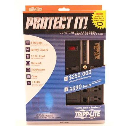 037332095329 - Tripp Lite 8 Outlet Surge Protector Power Strip, 10ft Cord Right Angle Plug, Tel/Modem/Coax/Ethernet, & $250K INSURANCE (TLP810NET) carousel main 2