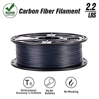 SunTop 3D Carbon Fiber PLA Filament 1 75mm, Rohs Compliance, 1 kg (2 2lbs)  Spool, Dimensional Accuracy +/- 0 03 mm,Black