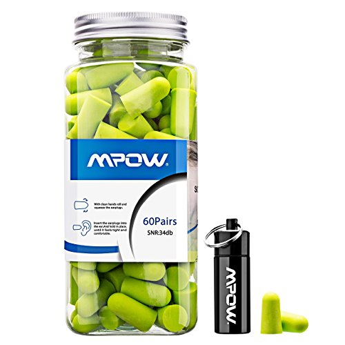 Ear Plugs Mpow 34db Highest NRR EarPlug 60 Pairs Soft foam Ear Plug with...