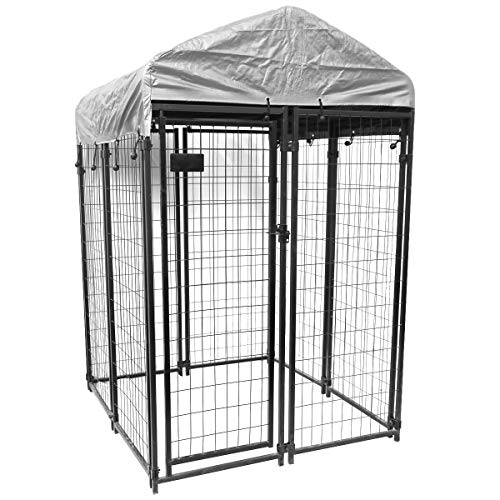 Uptown Welded Wire Kennel, Outdoor Modular Dog Kennel with UV and Water Resistant Tarp Cover - 6'H x 4'W x 4'L
