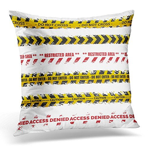 Sdamas Decorative Pillow Cover Black Construction Danger Tapes Grundge Collection Yellow Zone Throw Pillow Case Square Home Decor Pillowcase 16x16 (Construction Zone Throw Pillow)