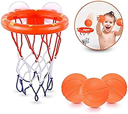 3 x Small BasketBalls Toddler Bath Toys Set 1 x Suction Cup Basket
