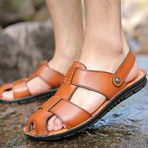Casual Leather Summer Sandal Sandals Men's Yellow SLJ Fisherman BISX1