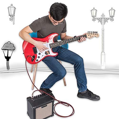 OTraki - Cable amplificador para guitarra (6,3 mm, 3 m, 2 unidades), color rojo y verde: Amazon.es: Instrumentos musicales
