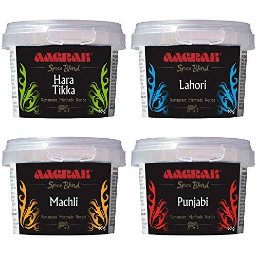 Aagrah Indian Spice Blends Gemengde Selectie (Pack van 4X 50g potten) – Authentieke Restaurant Recept Marinade