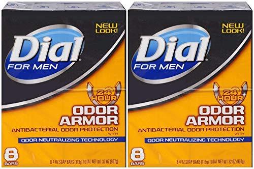 Dial for Men Odor Armor Antibacterial Soap, 4 Ounce, 8 Count (Pack of 2) 16 Bars Total