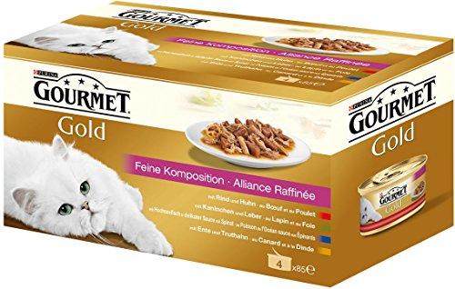 Gourmet Gold Katzenfutter Feine Komposition, Rind, Ente, Kaninchen, Hochseefisch, 48er Pack (48 x 85 g) Dosen