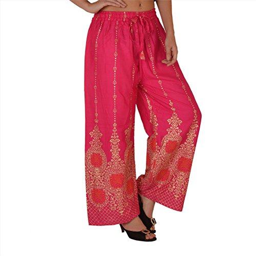 SNS rayón de mujer Palazzo pantalones pantalones pijama pintado floral Rosa
