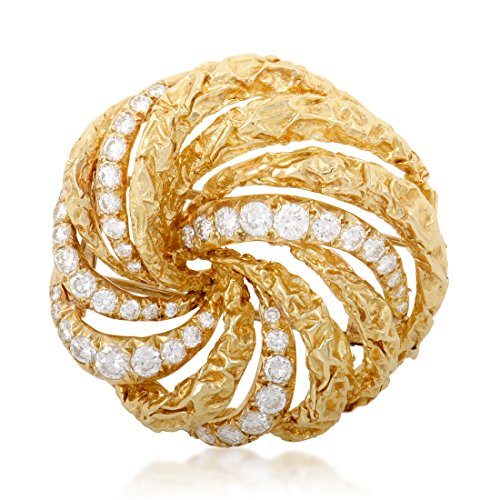 Dior Womens 18K Yellow Gold Diamond Swirl Brooch ()