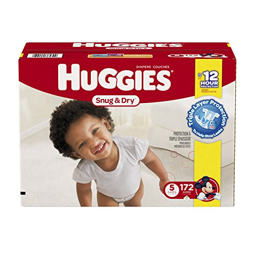 5 Value Pack (Huggies Snug & Dry Diapers, Size 5, 172 Count (One Month)