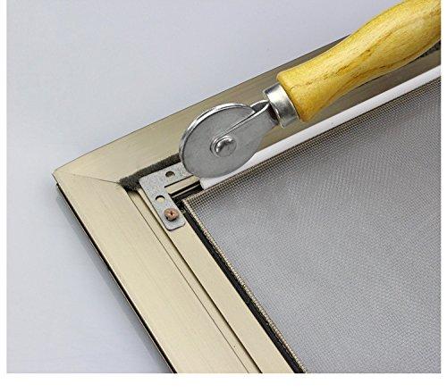 Screen Door Window Spline Roller Tool with Retainer Spline, 2 Pack Wood Handle Steel Ball Bearing Wheel Silicone Rubber Spline Durable Effective Installation Replacement Kit (White) by LOOBANI (Image #10)