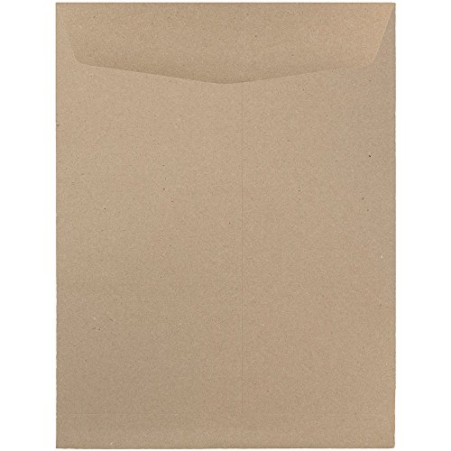 JAM PAPER 9 x 12 Open End Catalog Premium Envelopes - Brown Kraft Paper Bag - - Recycled Mailing Envelopes