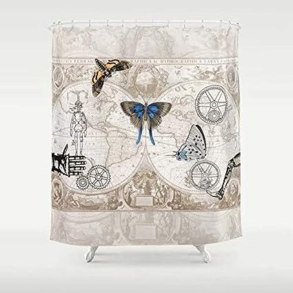 Nydia Shower CurtainsSteampunk Curtaingears Butterfliesshower Curtain Clear